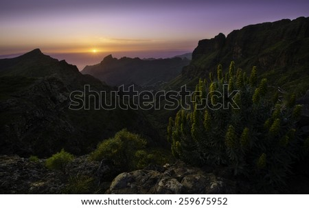Colorful sunset over Masca, Tenerife, Canary Islands, Spain - stock photo