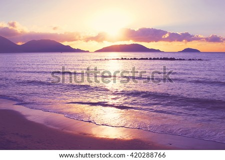 Colorful sunset over Mediterranean sea in Lerici, Italy. Toned image. - stock photo