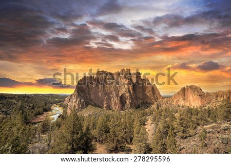 Colorful Sunset Over Smith Rock State Park in Central Oregon - stock photo