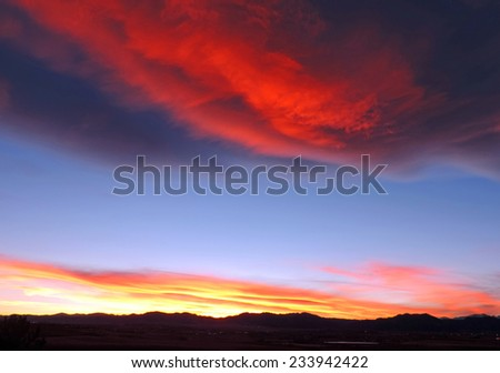 colorful  sunset over the front range, as seen from  broomfield,  colorado          - stock photo