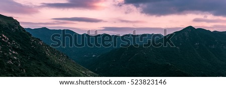 Colorful sunset over the mountain hills. Mountain scenery from hong kong