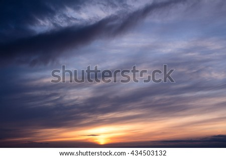 Colorful sunset with clouds in the evening