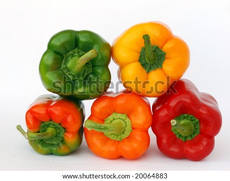 Colorful sweet peppers  isolated on white landscape