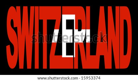colorful Switzerland text with Swiss flag illustration JPG - stock photo