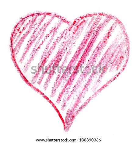 colorful symbol valentine day red heart isolated on white background - stock photo