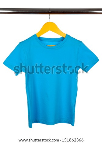 Colorful t-shirt on  clothes hanger isolated on white
