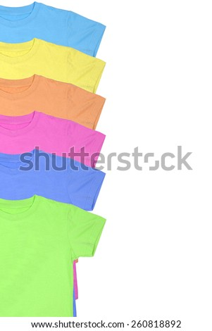 Colorful t-shirts isolated on white background - stock photo
