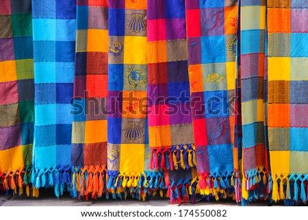 Colorful Tablecloths In The Market At Puerto Vallarta Mexico