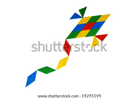 Colorful Tangram Kite icon made by square and triangle wood pieces of tangram - stock photo