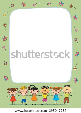 Colorful template for advertising brochure with a group of cute happy cartoon kids playing