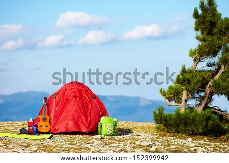 colorful tent camping in mountains. Crimea - stock photo