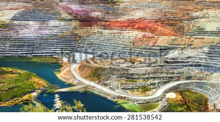 colorful terraces of geological mine in Milos island, Greece - stock photo