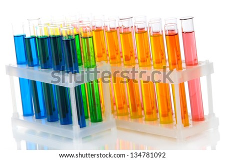 Colorful test tubes isolated on white