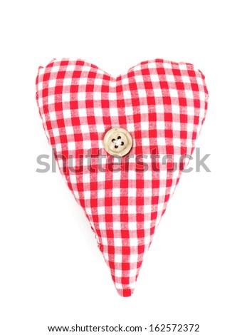 colorful textile hearts isolated on white background - stock photo