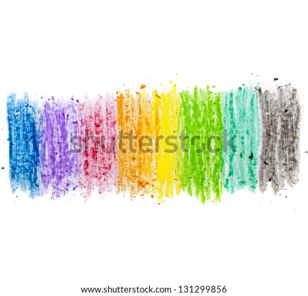 colorful texture pastel stick dust on white paper isolated - stock photo