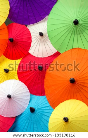 Colorful Thai traditional handmade umbrellas background
