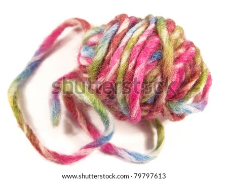 Colorful thick wool hank in a isolated close-up - stock photo