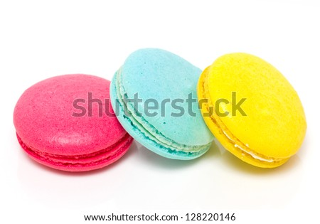 Colorful three macaroons isolated on white. - stock photo