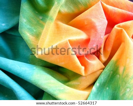 Colorful Tie Dyed Fabric 2 - stock photo