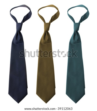 Colorful ties isolated on white background - stock photo