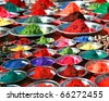 Colorful tika powders on indian market, India , Asia - stock photo