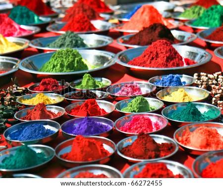 Colorful tika powders on indian market, India , Asia - stock photo