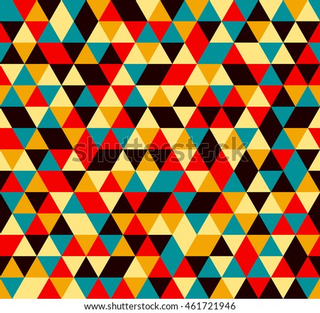 Colorful tile background illustration. Triangle geometric mosaic seamless pattern.