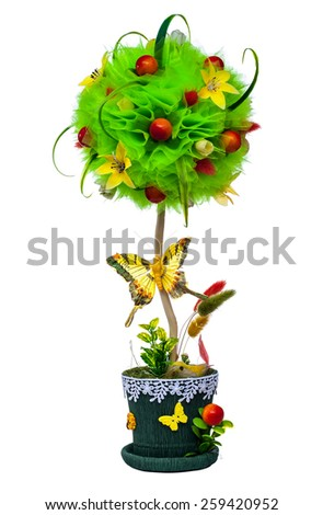 Colorful topiary homemade isolated on white background - stock photo