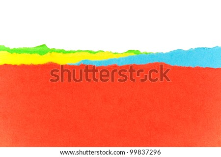 Colorful torn paper background with space for your message - stock photo