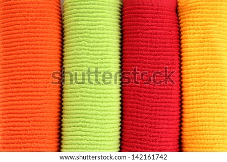 Colorful towels close-up background - stock photo