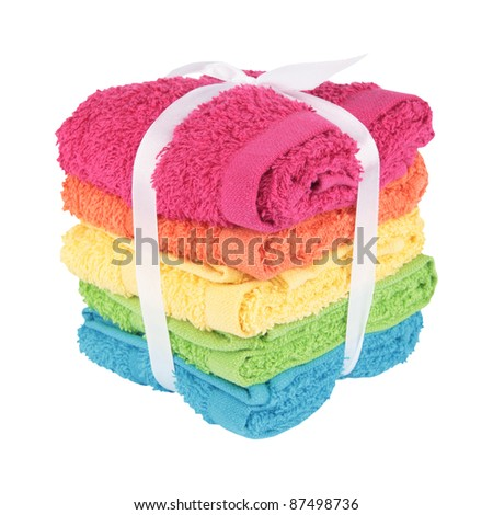 Colorful Towels Cutout - stock photo