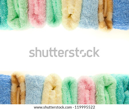 colorful towels isolated on the white background - stock photo