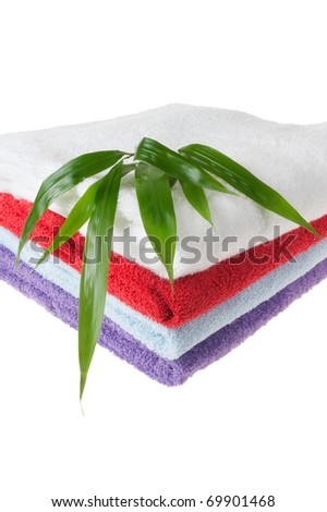 Colorful Towels With Bamboo Leaves Isolated