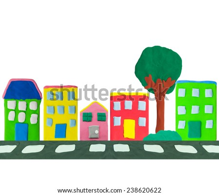 colorful Town building and street made from plasticine - stock photo