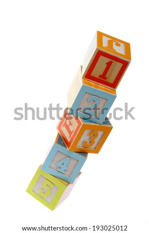 Colorful toy blocks with numbers from one to five for learning mathematics/Baby Cubes from 1 to 5 isolated on white - stock photo