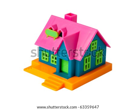 Colorful toy house on a white background