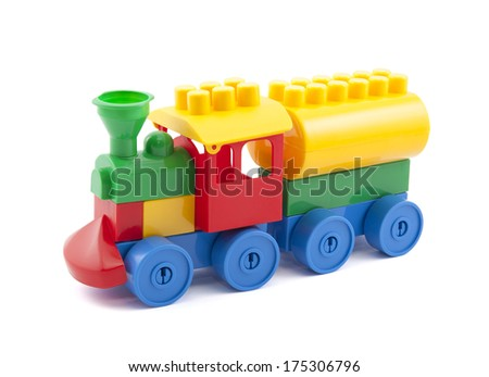 Colorful toy train with clipping path isolated on white - stock photo