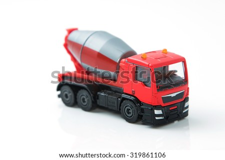 Colorful toy truck isolated on white background - stock photo