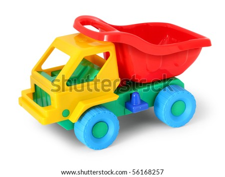 Colorful toy truck isolated on white background