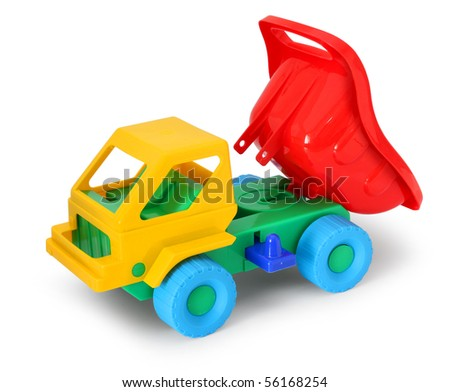 Colorful toy truck unloading isolated on white background