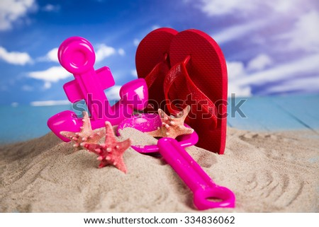 Colorful toys for children Sandbox, holiday - stock photo