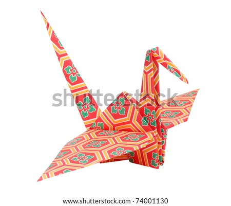Colorful traditional Japanese origami bird - stock photo