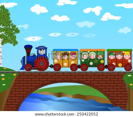 colorful train with children on a bridge