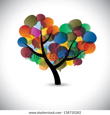 Colorful tree chat icons & speech bubble symbols. This graphic illustration represents social media communication or online chats and dialogs, discussions, etc - stock photo