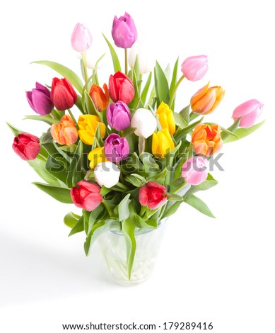 Colorful tulips in glass vase on white background - stock photo