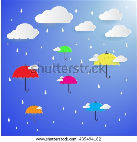 colorful umbrella on the air with raining