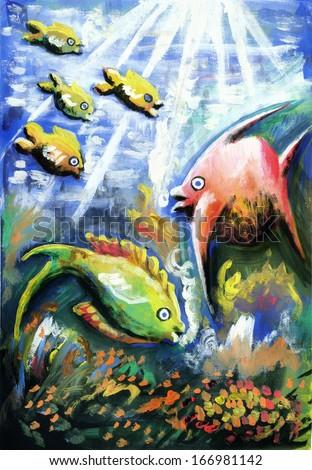 Colorful underwater life - stock photo