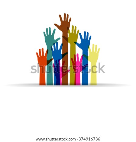 colorful up hands logo - stock photo