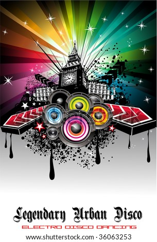 Colorful Urban Music Background for Disco flyers