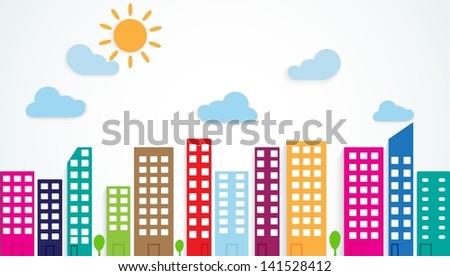 colorful urban scene - stock photo